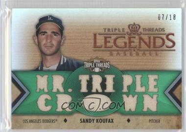 2012 Topps Triple Threads - Legends Relics - Emerald #TTRL-12 - Sandy Koufax /18