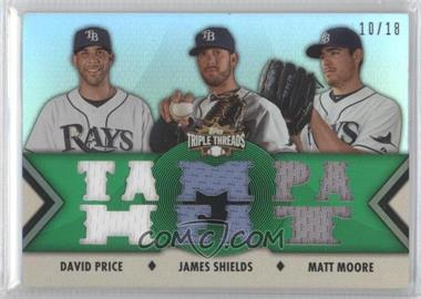 2012 Topps Triple Threads - Relic Combos - Emerald #TTRC-18 - David Price, James Shields, Matt Moore /18