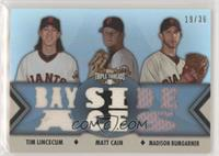 Tim Lincecum, Matt Cain, Madison Bumgarner [EX to NM] #/36