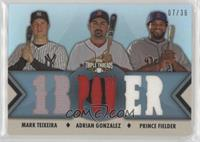 Mark Teixeira, Adrian Gonzalez, Prince Fielder [EX to NM] #/36