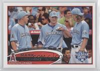 Mark Trumbo (Posed with Mike Trout and Jered Weaver; Horizontal)