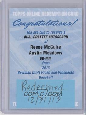 2013 Bowman Draft Picks & Prospects - Dual Draftee - Autographs [Autographed] #DD-MM - Reese McGuire, Austin Meadows /25 [REDEMPTIONBeingRedeemed]