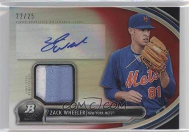 2013 Bowman Platinum - Autographed Relic - Red Refractor #AR-ZW - Zack Wheeler /25