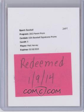 2013 Panini Prizm - USA Baseball - Prizms Signatures [Autographed] #USA5 - Matt Harvey /25 [REDEMPTIONBeingRedeemed]