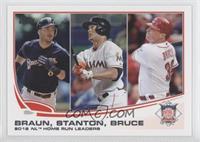 2012 NL Home Run Leaders (Ryan Braun, Giancarlo Stanton, Jay Bruce)