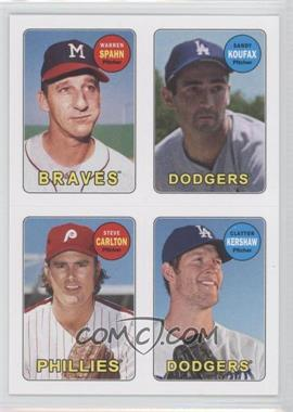 2013 Topps Archives - 1969 4-In-1 Stickers #69S-SKCK - Warren Spahn, Clayton Kershaw, Sandy Koufax, Steve Carlton