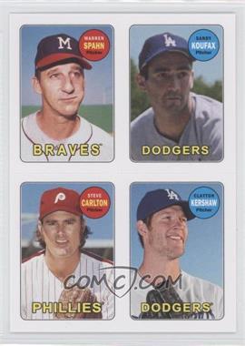 2013 Topps Archives - 1969 4-In-1 Stickers #69S-SKCK - Warren Spahn, Clayton Kershaw, Sandy Koufax, Steve Carlton