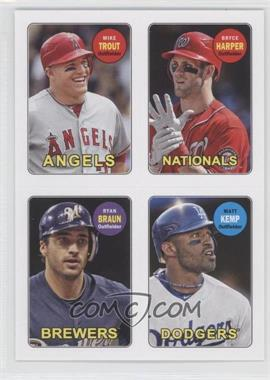2013 Topps Archives - 1969 4-In-1 Stickers #69S-THBK - Mike Trout, Bryce Harper, Ryan Braun, Matt Kemp