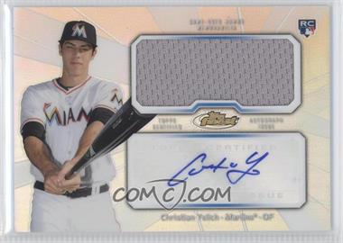 2013 Topps Finest - Autograph Jumbo Relic Rookie Refractor #AJR-CY - Christian Yelich