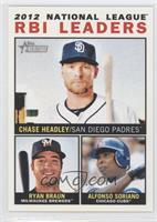 2012 National League RBI Leaders (Chase Headley, Ryan Braun, Alfonso Soriano)