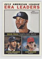 2012 American League ERA Leaders (David Price, Justin Verlander, Jered Weaver)