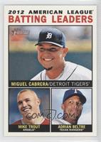 2012 American League Batting Leaders (Miguel Cabrera, Mike Trout, Adrian Beltre)