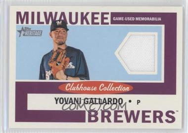 2013 Topps Heritage - Clubhouse Collection Relics #CCR-YG - Yovani Gallardo