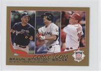 2012 NL Home Run Leaders (Ryan Braun, Giancarlo Stanton, Jay Bruce) #/62