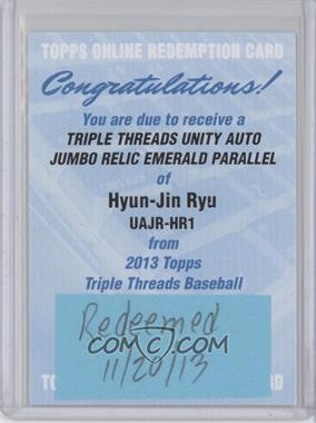 2013 Topps Triple Threads - Autograph Jumbo Relics - Emerald [Autographed] [Memorabilia] #UAJR-HR1 - Hyun-jin Ryu /50 [REDEMPTION Being Redeemed]