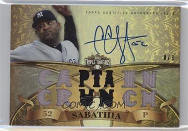 2013 Topps Triple Threads - Autograph Relics - Gold #TTAR-CCS3 - CC Sabathia /9