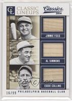 Al Simmons, Eddie Collins, Jimmie Foxx #/99