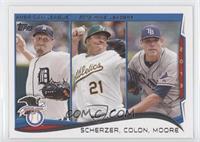 AL Wins Leaders (Max Scherzer, Bartolo Colon, Matt Moore)