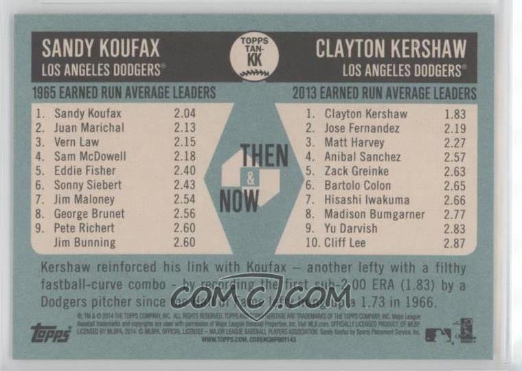 2014 Topps Heritage - Then & Now #TAN-KK - Sandy Koufax ...