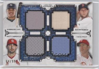2014 Topps Museum Collection - Four-Player Primary Pieces Quad Relics #PPFQR-5 - Robinson Cano, Dustin Pedroia, Chase Utley /99