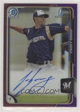 2015 Bowman - Chrome Prospects Autographs - Purple Refractor #BCAP-JL - Jorge Lopez /250