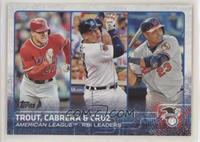 Mike Trout, Nelson Cruz, Miguel Cabrera