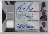 Pablo Sandoval, Rick Porcello, Hanley Ramirez #/36