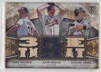 Greg Maddux, Chipper Jones, John Smoltz #/36