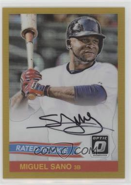 2016 Panini Donruss Optic - Rated Rookies Retro Signatures - 1984 Gold #84-MS - Miguel Sano /5 - Courtesy of COMC.com