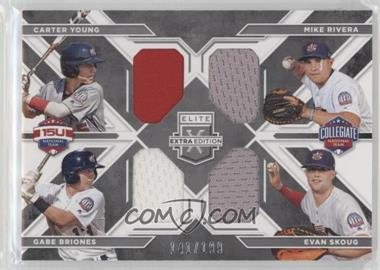 2016 Panini Elite Extra Edition - USA Baseball Quad Materials #2 - Evan Skoug, Gabe Briones, Mike Rivera, Carter Young /199