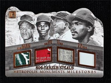 2016 Panini Pantheon - Metropolis Monuments Milestones - Bronze #M-800 - Rickey Henderson, Tim Raines, Ty Cobb, Lou Brock /3
