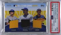 Addison Russell, Corey Seager, Francisco Lindor [PSA7NM] #/25