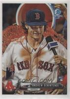 Rookie Photo Variation - Andrew Benintendi (White Jersey, Gatorade Shower)