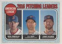 League Leaders - Corey Kluber, J.A. Happ, Rick Porcello #/50