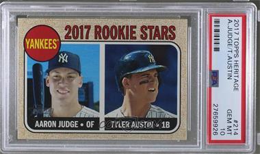 2017 Topps Heritage - [Base] #214.1 - Rookie Stars - Aaron Judge, Tyler Austin (Base) [PSA10GEMMT]