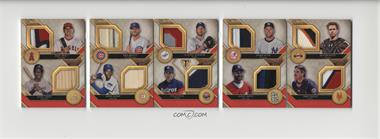 2017 Topps Triple Threads - Deca Relic Combo Booklets - Ruby #DRCB-1 - Kris Bryant, Hank Aaron, Mike Trout, Clayton Kershaw, Nolan Ryan, Ozzie Smith, Derek Jeter, Mike Piazza, Ernie Banks, Buster Posey /1