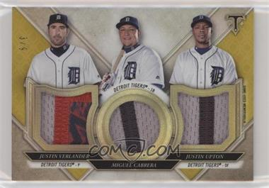 2017 Topps Triple Threads - Relic Combos - Gold #TTRC-VCU - Justin Verlander, Miguel Cabrera, Justin Upton /9