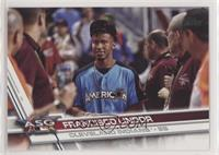 Short Print Variation - Francisco Lindor (With a group of people)