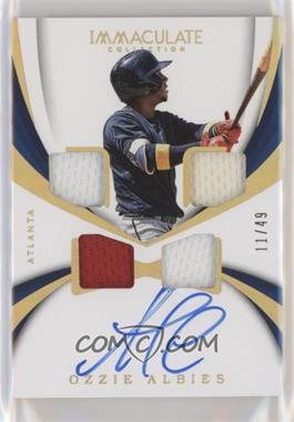 2018 Panini Immaculate Collection - Rookie Quad Materials Autographs - Gold #RQM-OZ - Ozzie Albies /49