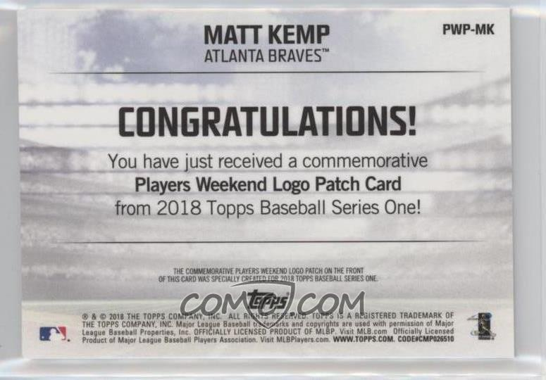 2018 Topps - Players Weekend Patch  PWP-MK - Matt Kemp - COMC Card ... eb3982da3e8