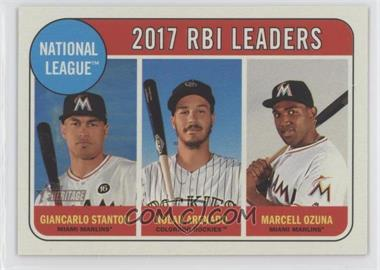 2018 Topps Heritage - [Base] #4 - League Leaders - Nolan Arenado, Giancarlo Stanton, Marcell Ozuna