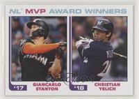 1982 Topps Baseball League Leaders Design - Giancarlo Stanton, Christian Yelich…