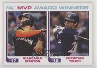 1982 Topps Baseball League Leaders Design - Giancarlo Stanton, Christian Yelich…