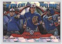 Nate Pearson, Bo Bichette, Vladimir Guerrero Jr. #/150