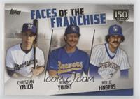 Christian Yelich, Robin Yount, Rollie Fingers #/150