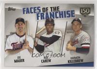 Joe Mauer, Rod Carew, Harmon Killebrew #/150