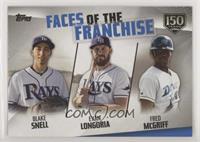 Fred McGriff, Blake Snell, Evan Longoria /150