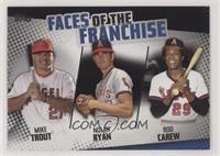 Mike Trout, Nolan Ryan, Rod Carew #/299