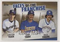 Christian Yelich, Robin Yount, Rollie Fingers /50