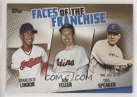 Francisco Lindor, Bob Feller, Tris Speaker #/50